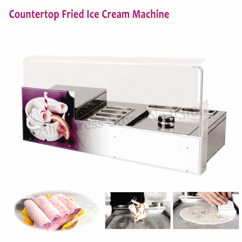 Countertop Fried Ice Cream Machine Square Pan with 6 Pots Fruit Juice Icecream Rolls Maker 220V ce approved fried fruit ice cream rolls machine ice pan machine fried ice pan machine