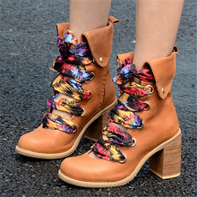 New Vintage Women Ankle Boots Genuine Leather Hollow Out Booties Autumn Lace Up Botas Militares Square High Heel Botines Mujer