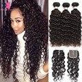 Cheap Malaysian Curly Hair With Closure 3 Bundles Water Wave Virgin Hair Vip Beauty Hair Wet And Wavy Big Curly Weave Human Hair