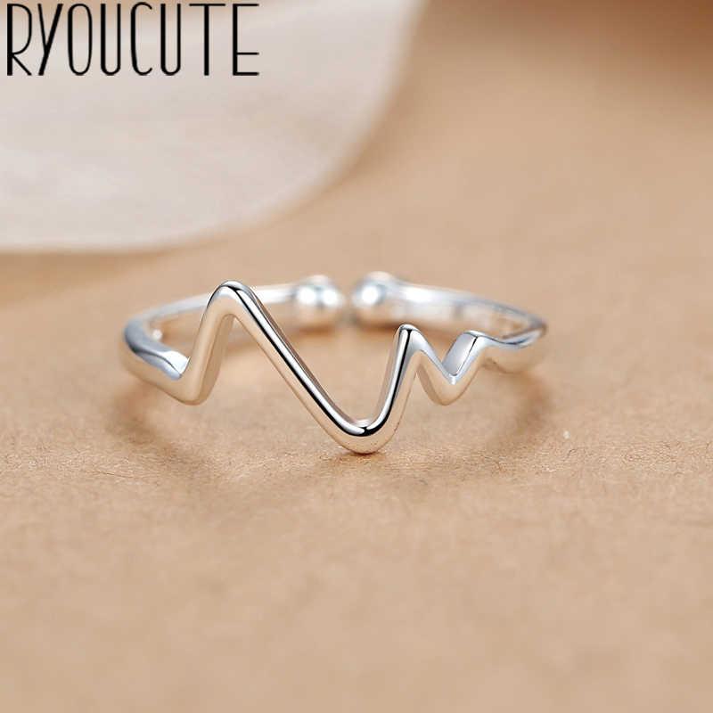 Bohemian Punk Real 925 เงินสเตอร์ลิงรูปทรงเรขาคณิตง่ายแหวนผู้หญิงเครื่องประดับขนาดใหญ่แหวนหมั้นแหวนของขวัญ