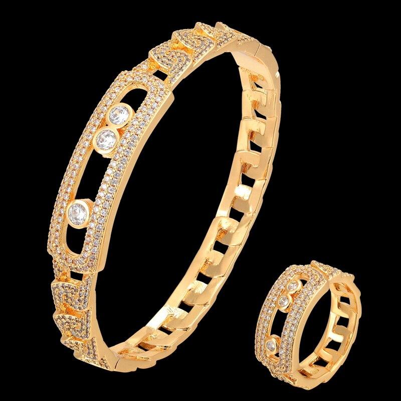 Zlxgirl classique AAA meseaka zircon complet micro pavé réglage chaîne style bracelet à la mode et bracelet de mariage ensembles de bijoux de mariée