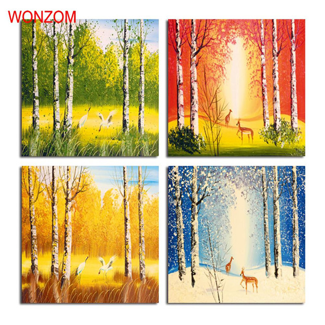 Alibaba グループ | AliExpress.comの 絵画&書道 からの 額装4ピース四季絵画森林キャンバス