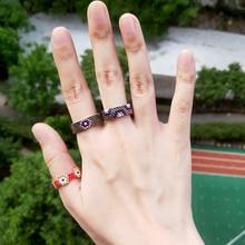 FAIRYWOO Miyuki Beaded Ring Ethnic Gothic Silver Jewelry Turkey Evil Eye Set Women Men Fashion Friendship Handmade Gifts