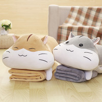 Cute super soft hamsters pillow with dual use car cushions fold blanket air conditioning office nap pillow