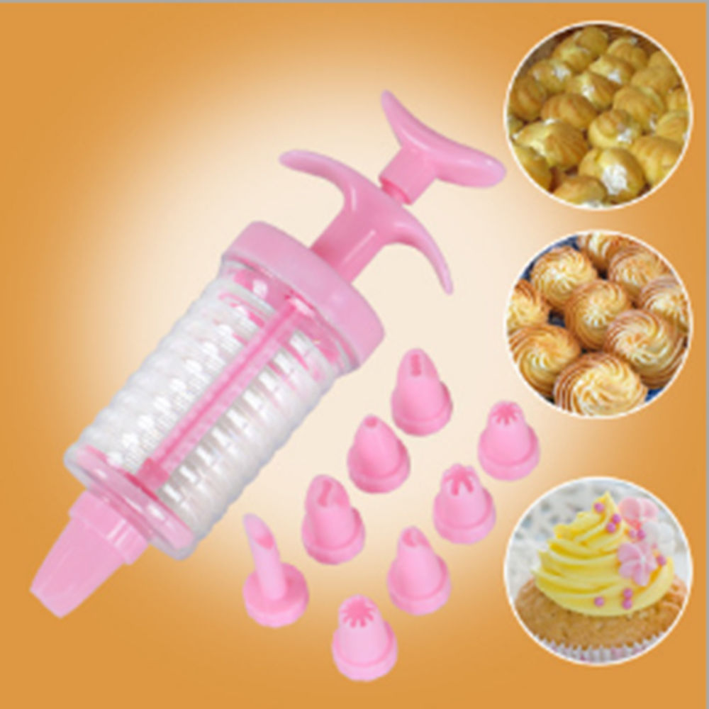 1 Set 8 Nozzles Cake Decoration Set Icing Syringe Plastic Delicate Cake Decorating Icing Piping Cream Syringe Tips Set Tool In Decorating Tip Sets