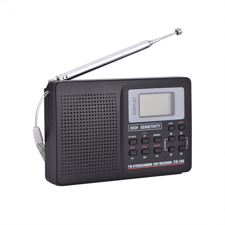 Mini Full Band Stereo AM//FM//MW//SW//LW Radio World Band Receiver Sound Alarm Clock