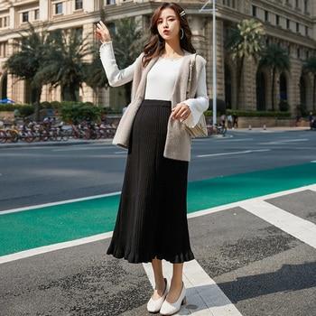 ba9e6a0d3 Cintura alta elástico vientre tejido maternidad faldas largas Otoño  Invierno elegante chapado falda de embarazo para mujeres embarazadas coreano