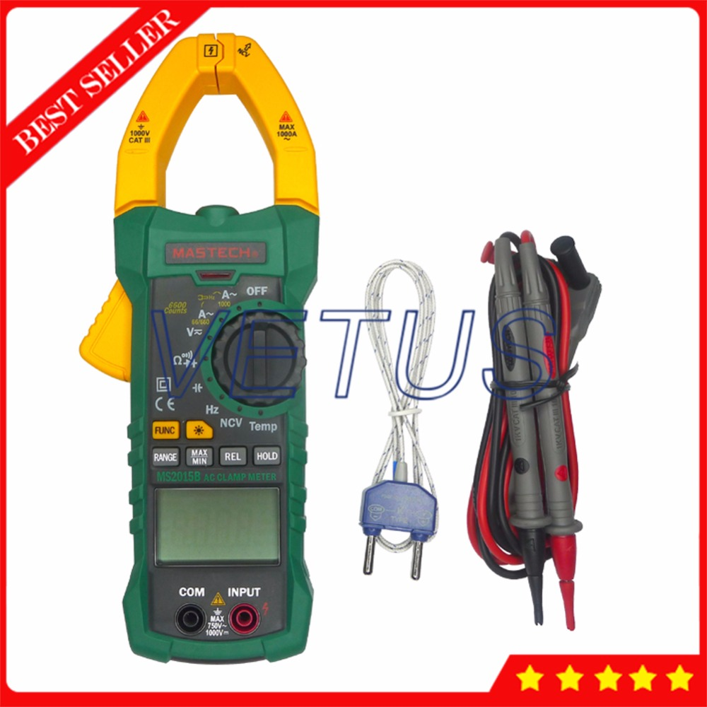 Mastech MS2015B Digital Clamp Meter Price with Resistance Capacitance Frequency Temperature and NCV Tester 1 pcs mastech ms8269 digital auto ranging multimeter dmm test capacitance frequency worldwide store