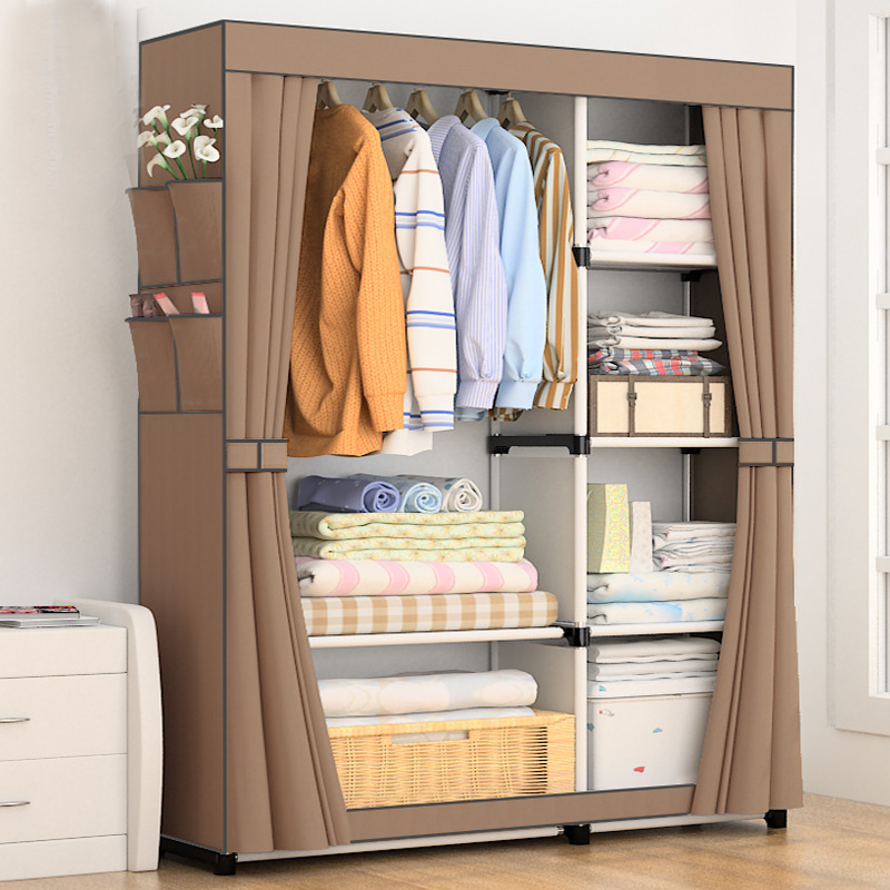 DIY Simple Curtain portable wardrobe Storage Organizer cupboard furniture Cabinet bedroom furniture Reinforcement Stowed closet creative diy closet magic piece plastic wardrobe storage cabinets simple wardrobe assembly wardrobe bedroom furniture closet