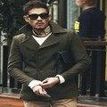 Exército verde casaco de lã de inverno homens casacos de design famosa marca casaco de lã dos homens double breasted fino casaco outerwear
