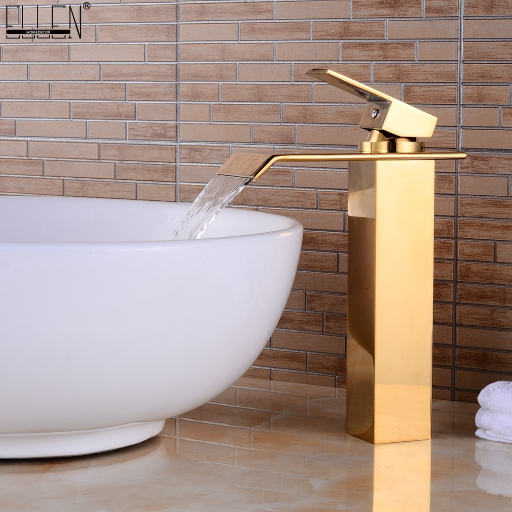 Tall Bathroom Faucets Gold Waterfall Bath Sink Water Mixer Golden Jade Basin Faucet Hot and Cold Deck Mounted ELS1506G цена