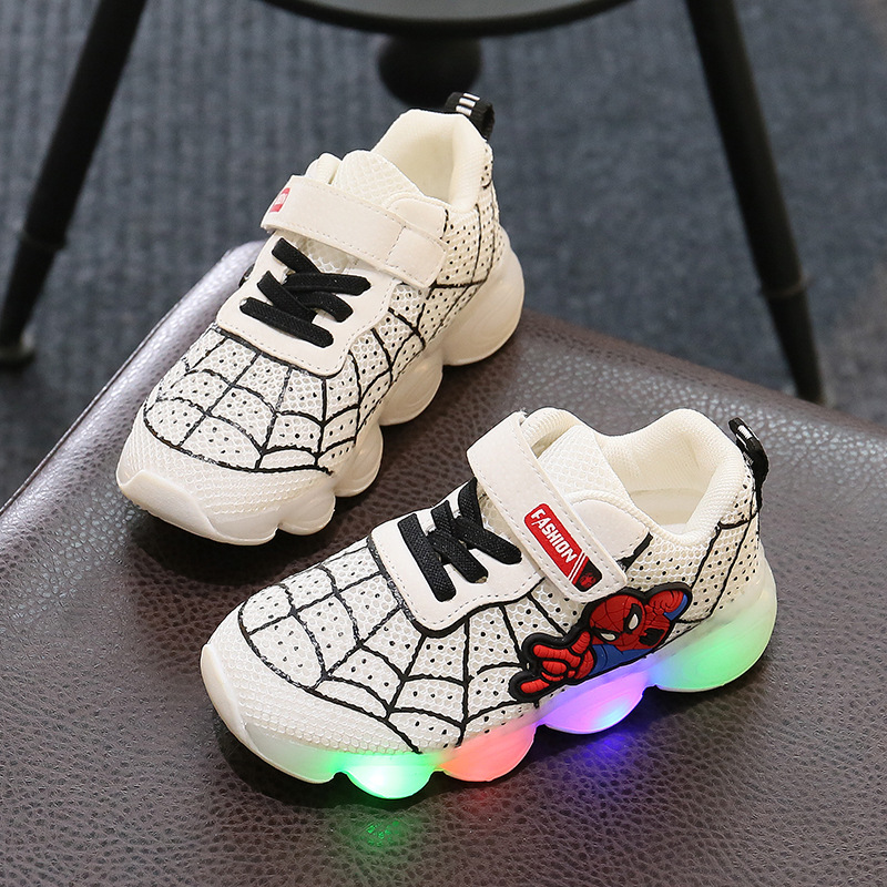 Spiderman Kids Boys Sports Sneakers Children Glowing Kids Shoe Chaussure Enfant Girls Shoe With LED lightSpiderman Kids Boys Sports Sneakers Children Glowing Kids Shoe Chaussure Enfant Girls Shoe With LED light