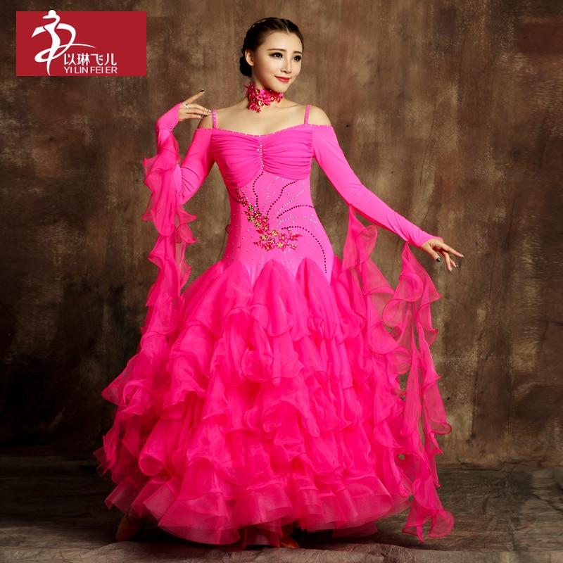 2017 Promotion Sale Costume Ballroom Dance Skirts Newest Design Woman Modern Waltz Tango Dress/standard Competition Dress Gb485