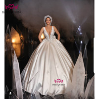 Deep V neck with Beading and Crystal Lustrous Satin Dresses of Marriage Luxury Backless Huge Bow Chapel Train Champagne w0555