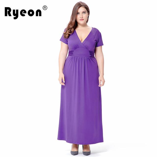 Ryeon Plus Size Maxi Dress Summer Autumn Vestido Longo Black Purple ...