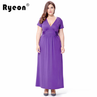Ryeon Plus Size Maxi Dress Summer Autumn Vestido Longo Black Purple Sexy V Neck Tunic Vintage