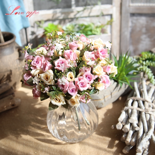 1 bouquet rose flowers leaves artificial silk rose flowers table 1 bouquet rose flowers leaves artificial silk rose flowers table decoration diy wedding flowers wedding home junglespirit Images
