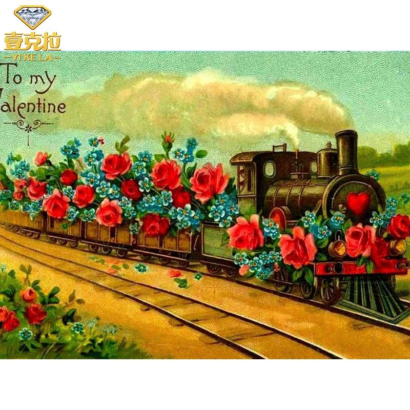 New Diamond Painting Flower Train Cross Stitch 5D Full Round Drill Diamond Embroidery Crystal Rhinestone Mosaic Craft Picture