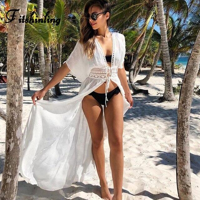 Fitshinling Чешский кружева лоскутное пляж прикрыть купальники пояс-кушак пикантная белая блузка Верхняя одежда Лето длинный кардиган кимоно