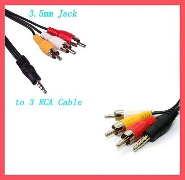 Wholesale Free shipping Brand New 3.5 mm Jack to 3 RCA Adapter Cable DV Audio Video Cable Connectors