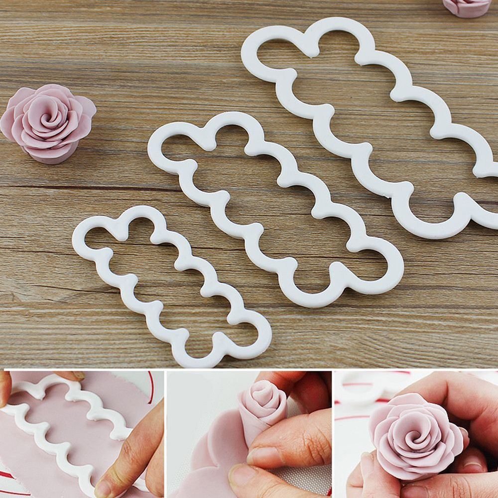 2017 Hot Sale 3pcs Set Silicone 3D Rose Flower Mold Fondant Cake Chocolate Sugarcraft Mold DIY Cake Tool