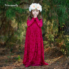 Robe De Soriee Fuchsia Flower Girl Dresses Lace Full Length Long Sleeve  Cheap Formal Child Evening Gown Cheap Vestido Daminha 9f239cb79555