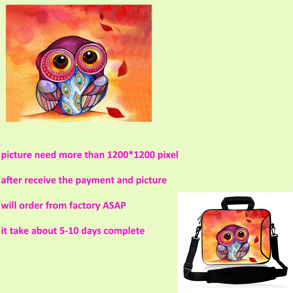 owl print Laptop shoulder Bag 9 7 11 6 13 3 14 4 15 4 15 6 17 3 inch Notebook sleeve Case With strap PC Messenger bag SB 151125 in Laptop Bags Cases from Computer Office