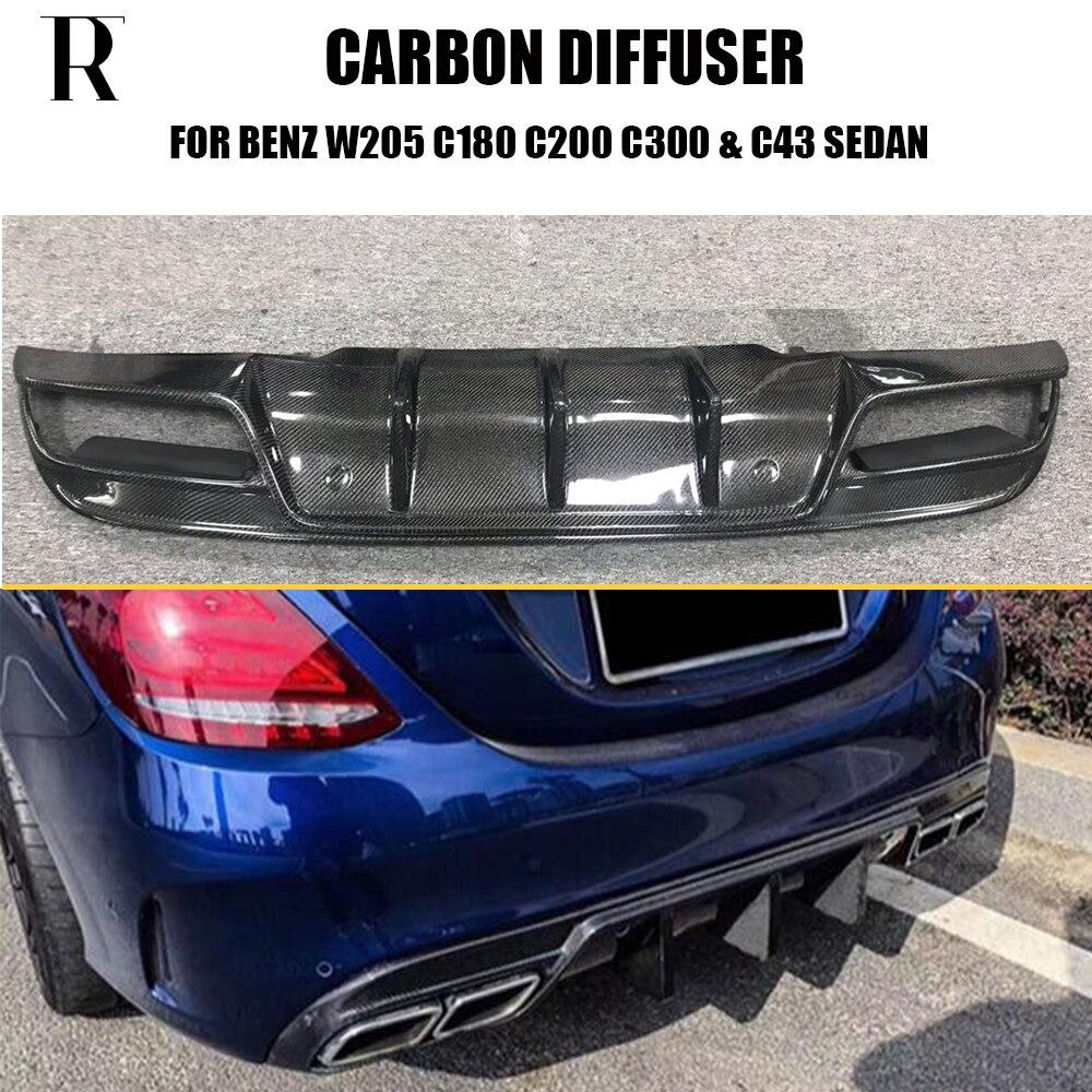 Diffuseur de becquet de Bunper arrière en Fiber de carbone W205 S205 pour Benz C180 C200 C300 C43 avec ensemble sport AMG & C63 2015-2022