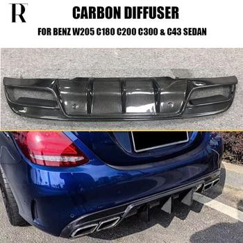 W205 S205 Carbon Fiber Rear Bunper Spoiler Diffuser for Benz  C180 C200 C300 C43 with AMG Sports Package & C63 2015 - 2022 for mercedes w205 amg spoiler fd style sedan c class c63 c180 c200 c250 c260 w205 carbon fiber rear spoiler trunk wing 2014 up