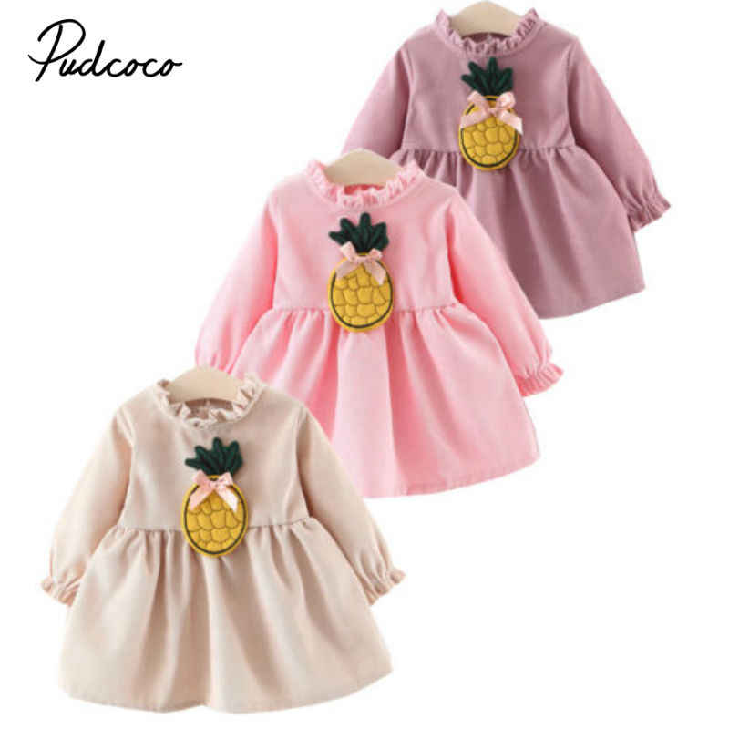 pudcoco 2019 Dresses For Girls Princess Costume Kids Infant Clothes Child Carnival Party Pineapple high quality Princess Winter