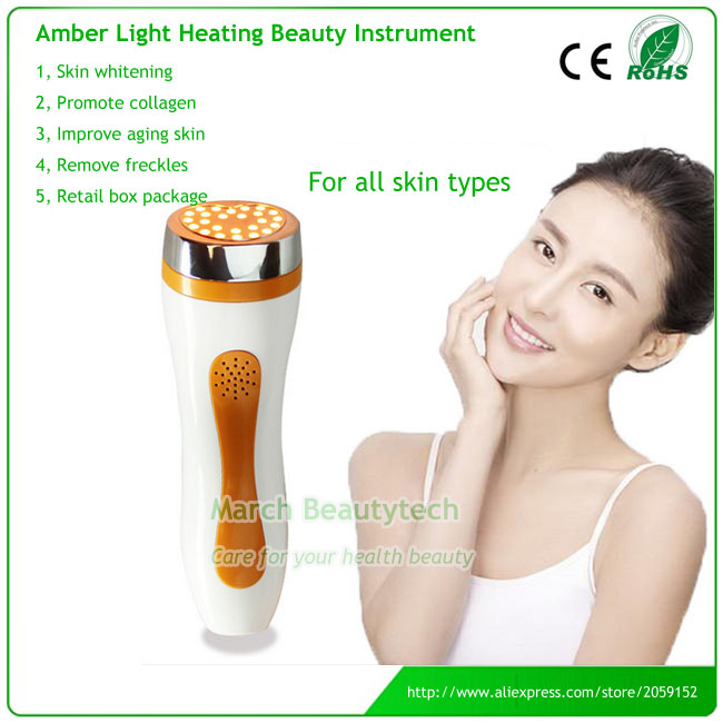 New Portable Heating Amber Photon Light Skin Therapy Freckle Removal Forehead Face Beauty Machine anti acne pigment removal photon led light therapy facial beauty salon skin care treatment massager machine