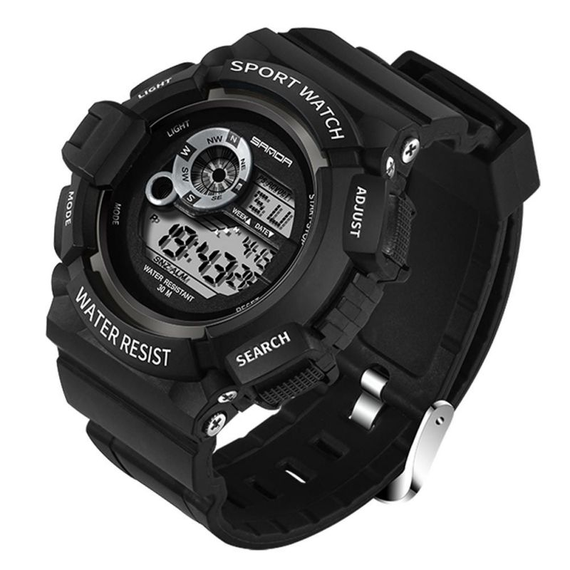 302 digital Mens Sports Watch Digital Waterproof shockproof 50m Chrono Self Calibrating Multifunction Swim Outdoor Wristwatch