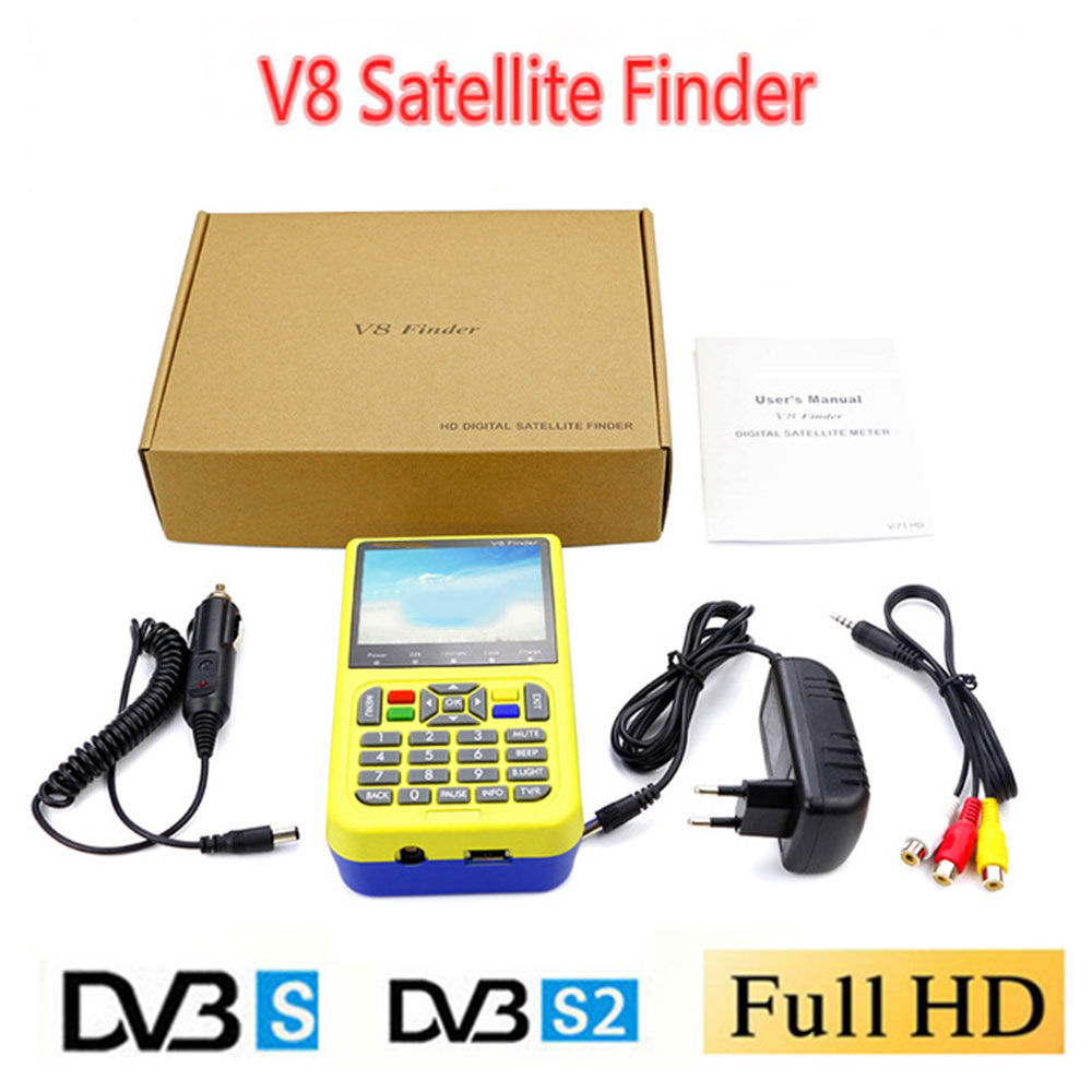 V8 Finder Satellite signal Finder HD DVB-S2 MPEG-2/MPEG-4 FTA Digital Satellite meter 3.5 inch LCD Display satlink 6906 satlink ws 6979se satellite finder meter 4 3 inch display screen dvb s s2 dvb t2 mpeg4 hd combo ws6979 with big black bag