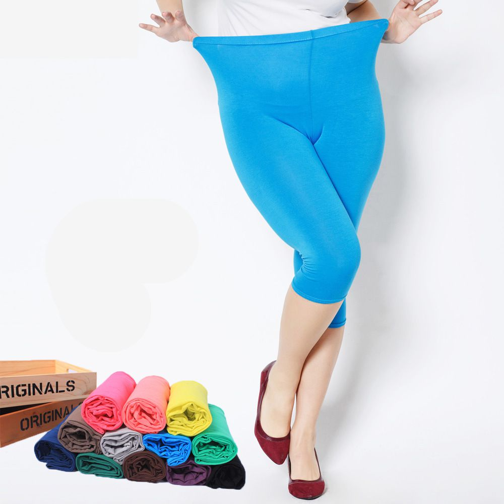 Summer Style High Quality Big Elastic Plus Size 7XL  Big Size Candy Color Modal Mid-Calf Leggings Women Pants