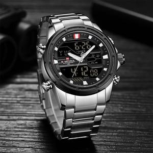 Image 2 - NAVIFORCE luksusowe mężczyźni analogowy zegarek kwarcowy Sport moda wojskowy odkryty wodoodporny Chrono EL podświetlenie cyfrowe zegarki na rękę 9138