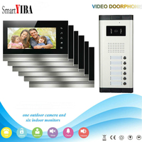 SmartYIBA домофоны для частных домов видеодомофон для квартиры 6 этажей ЖК дисплей цветной сенсорный экран дом домофон видео телефон