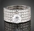 choucong 71PCS Simulated Diamond Cz 10KT White Gold Filled 5 Wedding Band Ring Set Sz 5-11 Free shipping