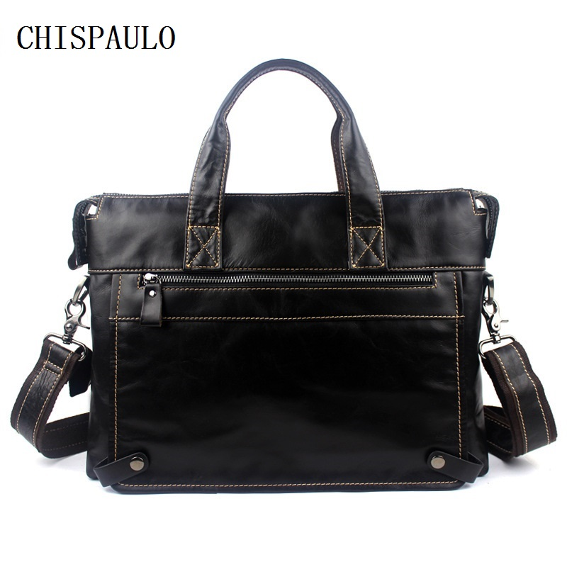 CHISPAULO Real Genuine leather men bag Briefcase Laptop tote shoulder laptop men's travel bag man bags men's messenger bag T665 mva genuine leather men bag business briefcase messenger handbags men crossbody bags men s travel laptop bag shoulder tote bags