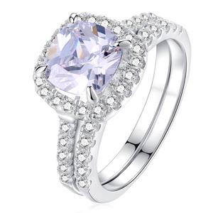 Image 2 - Newshe Solid 925 Sterling Silver Wedding Rings For Women 2.2 Ct Square Cushion Cut AAA Cubic Zircon Engagement Ring Set
