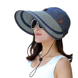 Summer Hats Cap Straw-Hat Visor Button Floppy Anti-Uv Wide Brim Beach Women Large