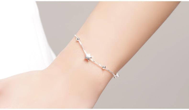 HTB1.9m1GuuSBuNjy1Xcq6AYjFXa9 SA SILVERAGE 925 Sterling Silver Charms Bracelets Bangles for Women 925 Silver Star Ball Chain Link Bracelets Pulseira Feminina