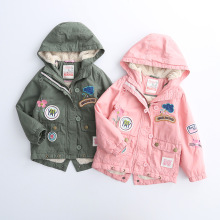 New Children Girl's Embroidery patch Add wool hooded windbreaker winter coat Wholesale 2016