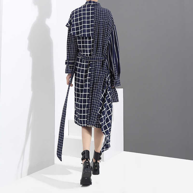 Новинка 2019, корейский стиль, Осеннее женское синее асимметричное платье-рубашка в клетку и пояс, длинный рукав, женские стильные вечерние платья, 3209