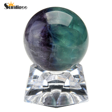 Sunligoo 30mm Natural Dragon Blood Jasper Fluorite Healing Crystal Gemstone Ball Divination Sphere Sculpture Figurine