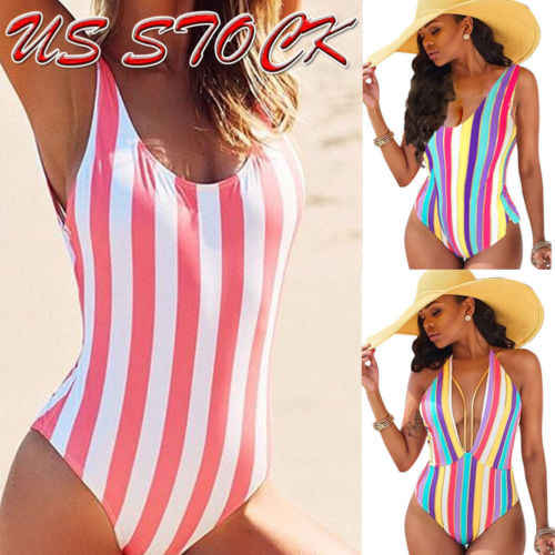 Sexy Women One Piece Swimsuit Swimwear Bathing Monokini Push Up Bikini Rainbow Stripes One-Piece Suits
