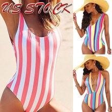 Sexy Women One Piece Swimsuit Swimwear Bathing Monokini Push Up Bikini Rainbow Stripes One-Piece Suits