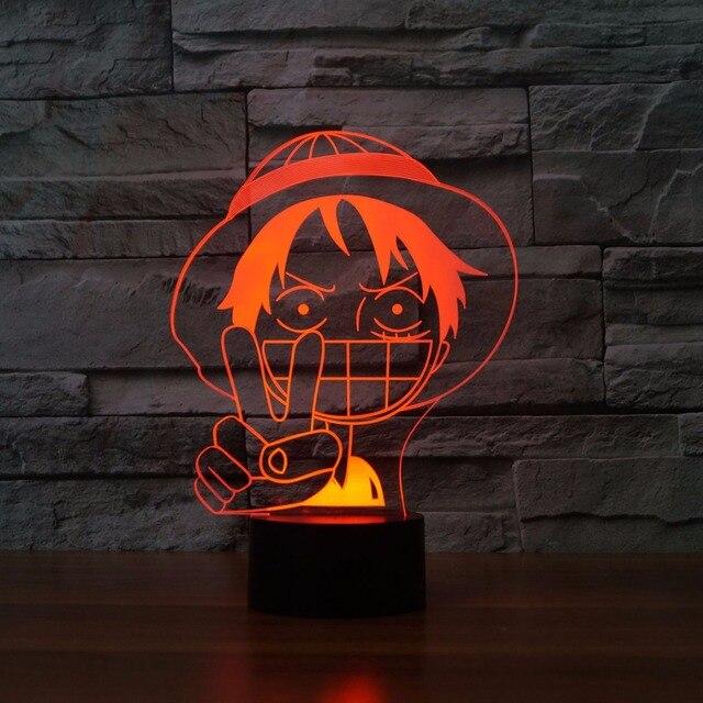 Nice One Piece Charakter Luffy Modell Tischlampen Für Wohnzimmer Große Lächeln  Gesicht Stecknachtbabylampe 7 Farben Ändern Kinder