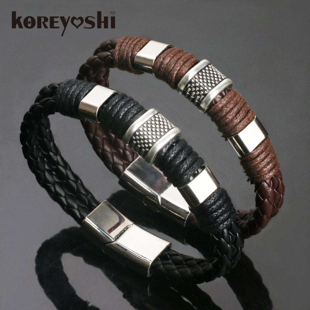 2018 new Jewelry Punk 2 color Zinc Alloy Accessories Weave Genuine leather Men braided  Bracelet male Bangles pulseras hombre