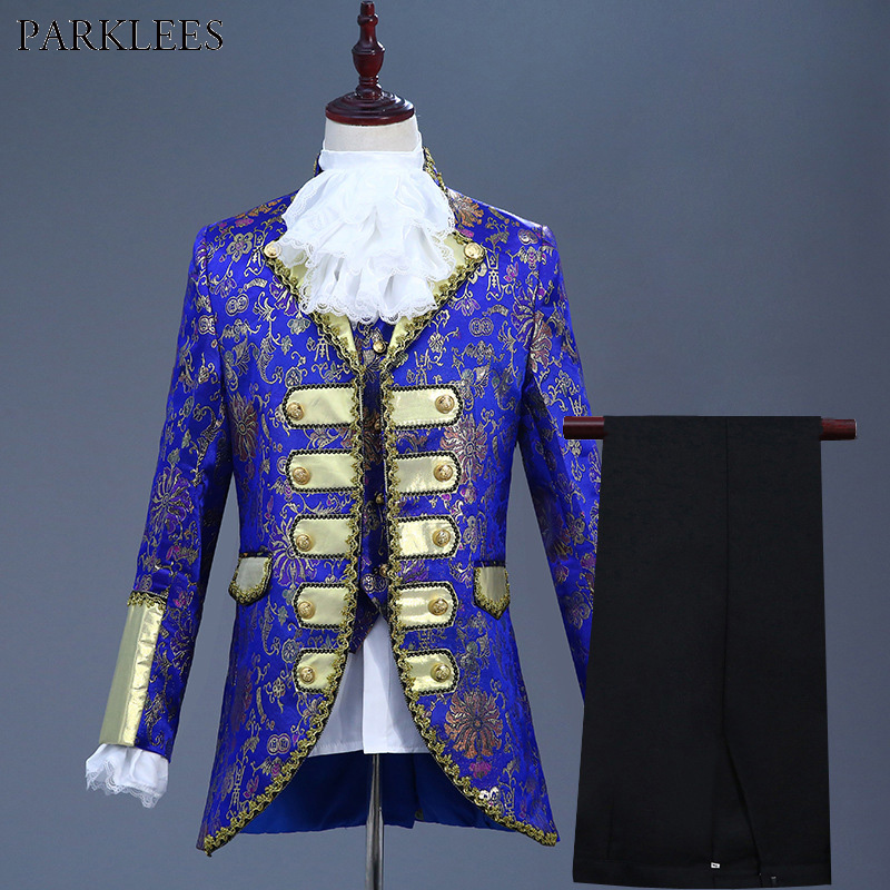 Mens Hipster Royal Blue Five piece Suit Europe Gothic Style Palace Suits Men Wedding Groom Party Prom Stage Costumes for Singer
