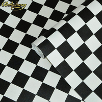 beibehang roof black white square checkered 3D wall paper salon shop clothing store restaurant checkout KTV background wallpaper